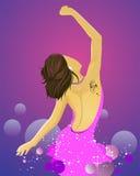 Donna di Dancing nel colore rosa Immagine Stock