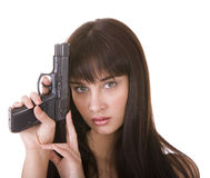 Donna di depressione del carattere con la pistola. Immagine Stock