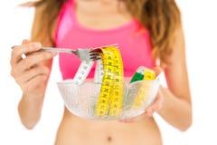 Donna di dieta con nastro adesivo di misura Fotografia Stock Libera da Diritti