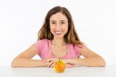 Donna di dieta con una mela Immagine Stock Libera da Diritti
