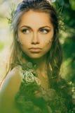 Donna di Elf in una foresta immagini stock