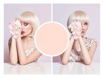 Donna di estate del modello del collage di pubblicità di arte in vestito con il fiore Immagini Stock