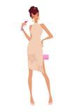 Donna di fascino che tiene un vetro di vino Fotografia Stock