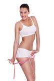 Donna di felicità con nastro adesivo di misura Fotografia Stock