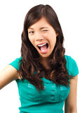 Donna di flirt divertente Fotografia Stock