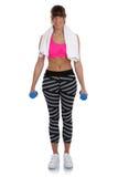 Donna di forma fisica ad addestramento di allenamento con il portr completo del corpo delle teste di legno Immagini Stock