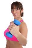 Donna di forma fisica ad addestramento di allenamento di sport che fa esercizio con il du Fotografia Stock