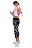 Donna di forma fisica ad addestramento di allenamento di sport che partecipa prendendo PA Immagini Stock