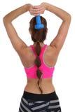 Donna di forma fisica all'allenamento di sport che prepara il tricipite posteriore w della spalla Immagine Stock