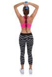 Donna di forma fisica all'allenamento di sport che prepara il tricipite posteriore w della spalla Fotografie Stock