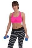 Donna di forma fisica alle teste di legno della tenuta di allenamento di sport isolate Immagine Stock