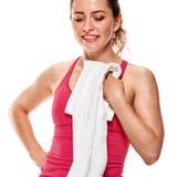 Donna di forma fisica con l'asciugamano Fotografia Stock Libera da Diritti