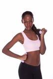 Donna di forma fisica su bianco Fotografie Stock Libere da Diritti