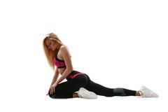 Donna di forma fisica su bianco Immagine Stock Libera da Diritti