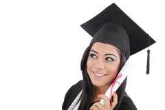 Donna di graduazione con il diploma Fotografie Stock