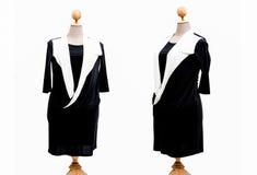 Donna di grande misura del vestito su un fondo bianco Immagini Stock Libere da Diritti