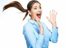 Donna di grido di affari Emozione di modello positiva Isolato Fotografia Stock
