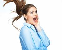 Donna di grido di affari Emozione di modello positiva Isolato Immagine Stock Libera da Diritti