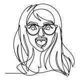 Donna di grido in occhiali una linea Art Portrait Siluetta lineare disegnata a mano della donna di espressione facciale femminile Fotografia Stock