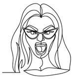 Donna di grido in occhiali una linea Art Portrait Siluetta lineare disegnata a mano della donna di espressione facciale femminile Fotografie Stock Libere da Diritti