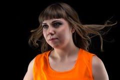 Donna di immagine con capelli scorrenti, distogliere lo sguardo Fotografia Stock Libera da Diritti