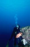 Donna di immersione subacquea immagini stock libere da diritti