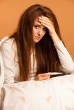 Donna di influenza di malattia di febbre Fotografia Stock