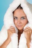 Donna di inverno con il cappotto di pelliccia fotografia stock