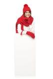Donna di inverno con l'insegna Immagini Stock