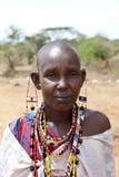 Donna di Maasai con il beadwork Immagine Stock