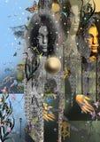 Donna di mistero con capelli scuri e uno sguardo della mano Fotografia Stock Libera da Diritti