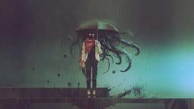 Donna di mistero con l'ombrello nero illustrazione di stock