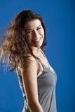 Donna di modo in azzurro fotografia stock libera da diritti
