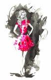 Donna di modo di vettore nel rosso Illustrazione dell'acquerello royalty illustrazione gratis
