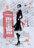 Donna di modo a Londra Fotografie Stock