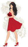 Donna di modo nel colore rosso Royalty Illustrazione gratis