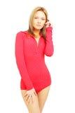 Donna di modo nel rosso Fotografie Stock