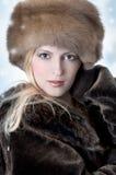 Donna di modo in pelliccia Fotografie Stock