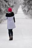 Donna di modo sull'inverno fotografia stock