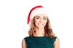 Donna di natale in cappello della Santa Modello di moda sorridente Immagini Stock
