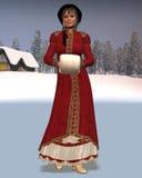 Donna di natale della reggenza con priorità bassa nevosa Fotografia Stock Libera da Diritti