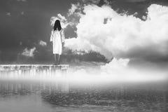 Donna di orrore che sta sul ponte nel lago con nebbia ed il cielo nuvoloso Immagine Stock