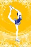 Donna di pattinaggio artistico - colore giallo royalty illustrazione gratis