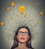 Donna di pensiero con i segni di domanda e cercare capo di cui sopra della lampadina leggera di idea Immagine Stock Libera da Diritti
