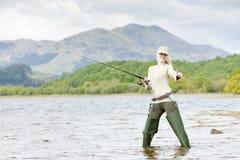 Donna di pesca Fotografia Stock Libera da Diritti