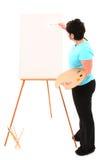 Donna di peso eccessivo alla pittura del supporto Immagine Stock