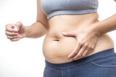 Donna di peso eccessivo con la pancia grassa Immagini Stock Libere da Diritti