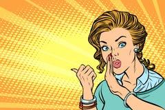 Donna di Pop art che parla nel segreto royalty illustrazione gratis