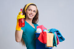 Donna di pulizia fotografie stock libere da diritti