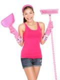 Donna di pulizia bella Immagine Stock